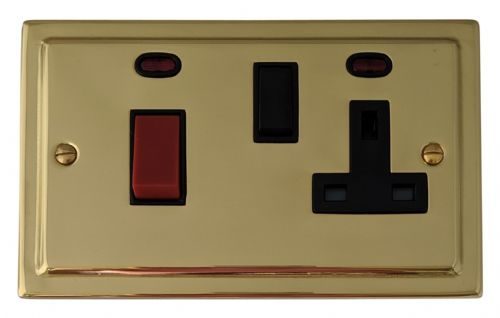 G&H TB29B Trimline Plate Polished Brass 45 Amp DP Cooker Switch & 13A Switched Socket